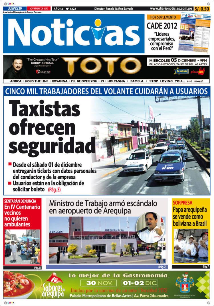 Portada de Diario Noticias (Perú)