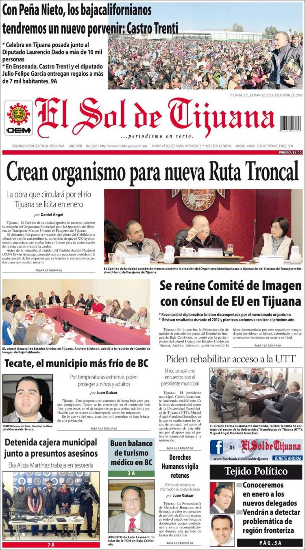Periódico El Sol De Tijuana México Periódicos De México